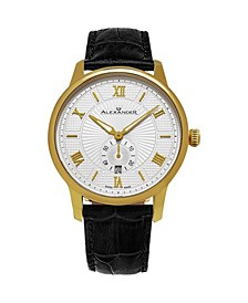 Alexander Watch A102-03, Stainless Steel Yellow Gold Tone Case on Black Embossed Genuine Leather Strap