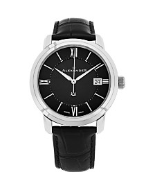 Alexander Watch A111-01, Stainless Steel Case on Black Embossed Genuine Leather Strap