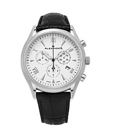 Alexander Watch A021-02, Stainless Steel Case on Black Embossed Genuine Leather Strap