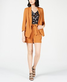 Bar III Open-Front Jacket, Printed Top & Belted Shorts, Created for Macy's