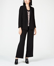 Bar III Blazer, Printed Blouse & Wide-Leg Pants, Created for Macy's