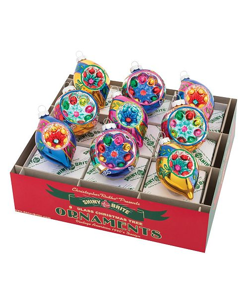 """Christopher Radko Christmas Confetti 9 Count 2.5"""" Decorated  Reflector Rounds & Tulips"""