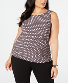 Anne Klein Plus Size Carlyle Dotted Side-Ruched Top