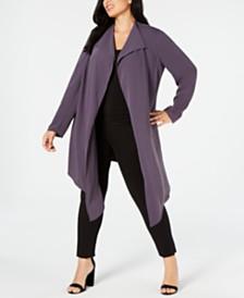 Anne Klein Plus Size Drape-Front Cardigan Jacket