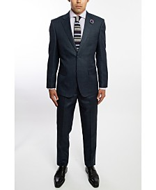 English Laundry Two Button Wide Notch Lapel Slim Fit Men's Dark Navy Windowpane Suit With Flat Front Pants