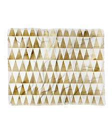 Georgiana Paraschiv Triangle Pattern Gold Woven Throw Blanket