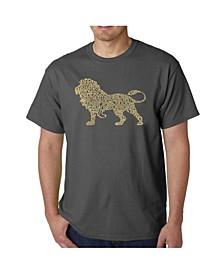 Mens Word Art T-Shirt - Lion