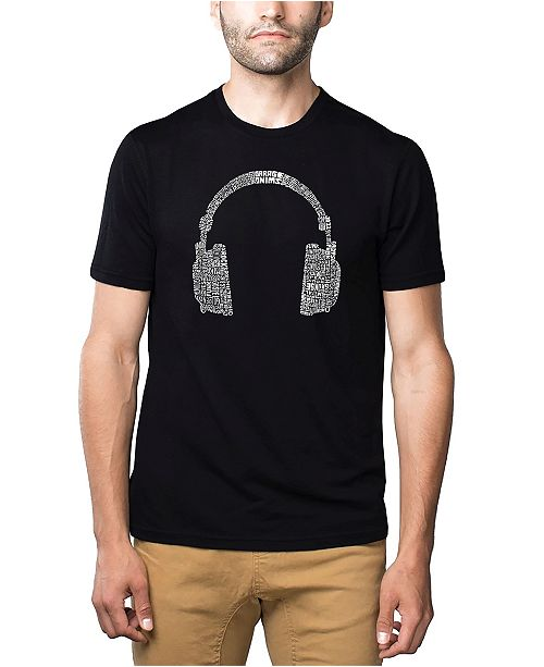 LA Pop Art Mens Premium Blend Word Art T-Shirt - Headphones - Music Genres