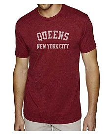 LA Pop Art Mens Premium Blend Word Art T-Shirt - Queens NY Neighborhoods