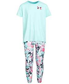 Under Armour Big Girls Mesh-Panel Logo-Print T-Shirt & Printed Leggings Separates