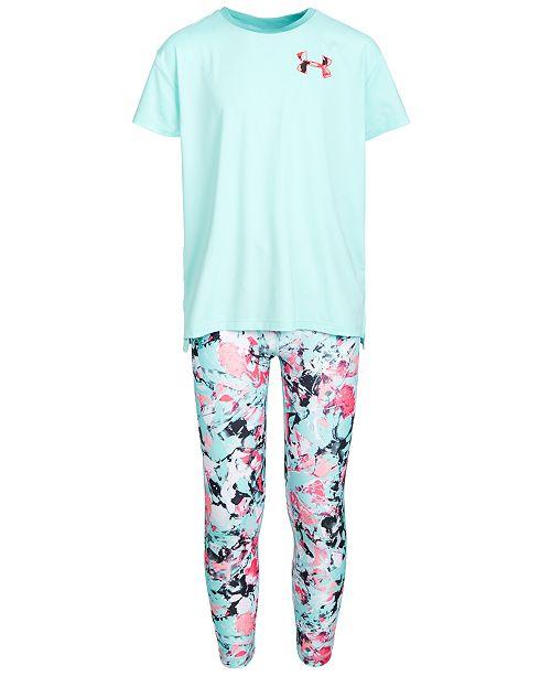 Under Armour Big Girls Mesh-Panel Logo-Print T-Shirt & Printed Leggings Separates