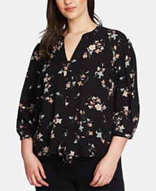 1.STATE Plus Size Floral-Print Split-Neck Blouse