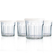 Luminarc Working Glass Juice Glass + White Storage Lids - Set of 4