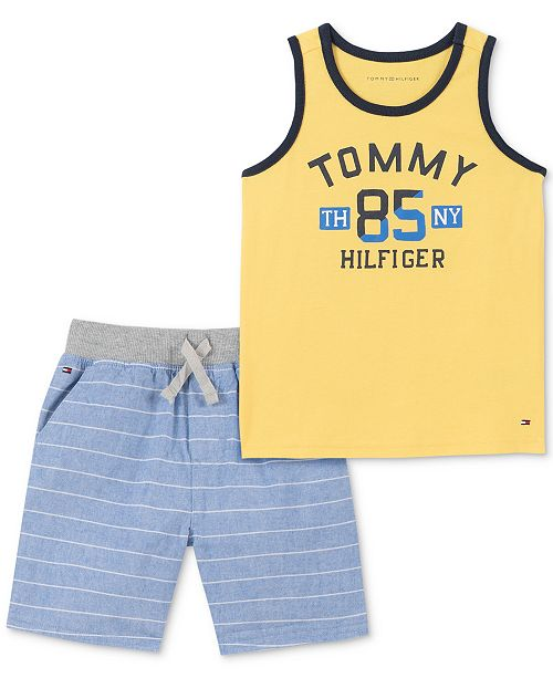 Tommy Hilfiger Baby Boys 2-Pc. Logo Tank Top & Striped Shorts Set