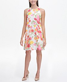 Petite Floral Chiffon Trapeze Dress