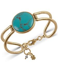 Lucky Brand Gold-Tone Imitation Turquoise Hinge Bracelet