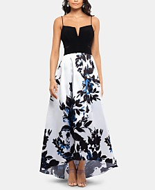 XSCAPE Solid & Floral High-Low Gown