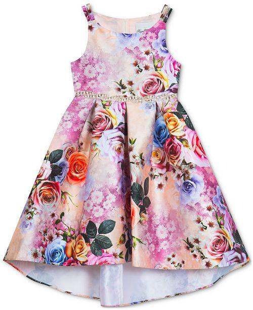 Rare Editions Big Girls Plus Floral-Print Hi-Low Dress