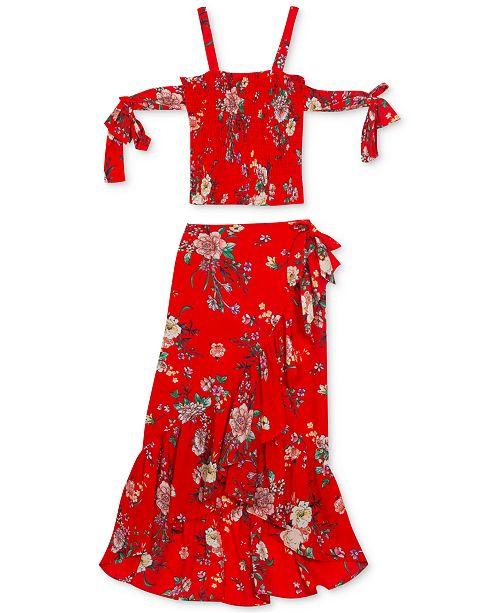 Rare Editions Big Girls Plus 2-Pc. Floral-Print Cold-Shoulder Top & Skirt Set