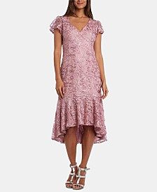 R & M Richards Petite Soutache High-Low Flounce Midi Dress