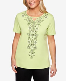 Alfred Dunner Cayman Islands Embroidered Keyhole Top