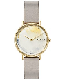 Skagen Women's Signatur Slim Gray Leather Strap Watch 36mm