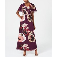 Deals on SL Fashions Embellished Floral-Print Gown