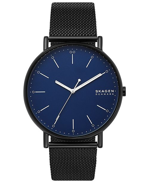 Skagen Men's Signatur Black Stainless Steel Mesh Bracelet Watch 45mm