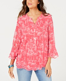 Charter Club Petite Scenic-Print Pintucked Top, Created for Macy's