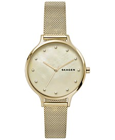 Women's Anita Gold-Tone Stainless Steel Mesh Bracelet Watch 36mm