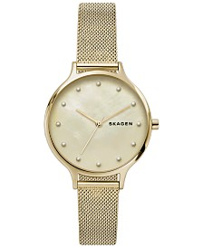 Skagen Women's Anita Gold-Tone Stainless Steel Mesh Bracelet Watch 36mm