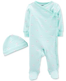 Baby Girls 2-Pc. Footed Coverall & Hat Cotton Set