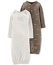 Baby Boys & Girls 2-Pk. Printed & Striped Gowns