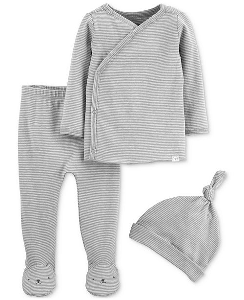Carter's Baby Boys & Girls 3-Pc. Striped Top, Footed Pants & Hat Cotton Set
