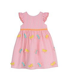 London Girls Coral Ruffle Sleeve Butterfly Stripe Dress