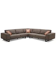 "CLOSEOUT! Laser 123"" 3-Pc. Fabric Sectional Sofa"