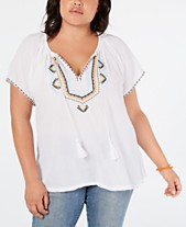 8da00e9152c Lucky Brand Plus Size Embroidered Short-Sleeve Peasant Top