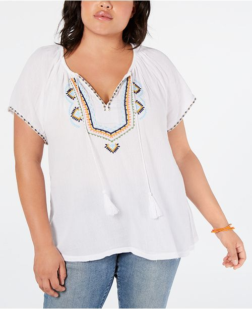 Lucky Brand Plus Size Embroidered Short-Sleeve Peasant Top