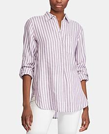 Stripe-Print Long-Sleeve Linen Shirt