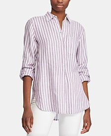 Lauren Ralph Lauren Stripe-Print Long-Sleeve Linen Shirt