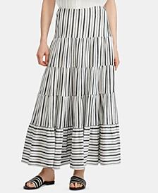 Stripe-Print Tiered Jersey Cotton Skirt