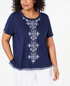 Alfred Dunner Plus Size In The Navy Gingham-Trim Embroidered Top
