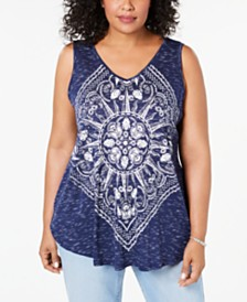 Style & Co Plus Size Graphic Tank Top, Created for Macy's