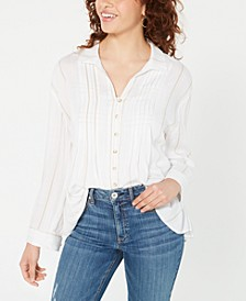 Juniors' Pin-Tucked Tie-Back Shirt, Created for Macy's