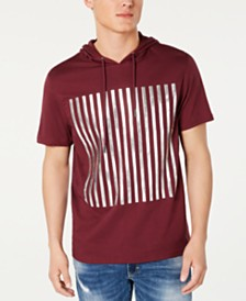 I.N.C. Men's High Density Striped Hooded T-Shirt, Created for Macy's