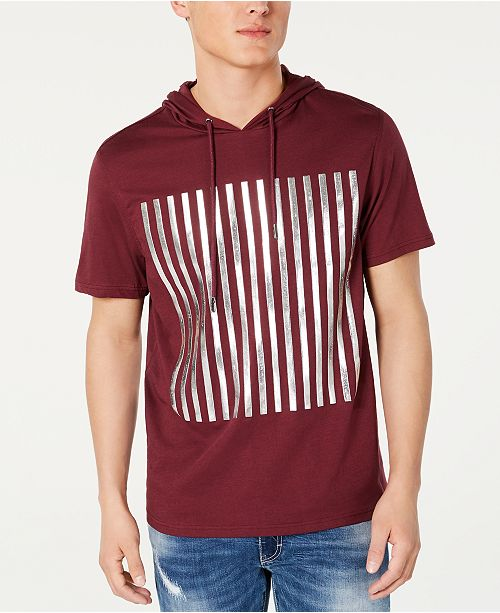 INC International Concepts INC Men's High Density Striped Hooded T-Shirt, Created for Macy's