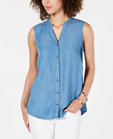 Style & Co Side-Seam Sleeveless Shirt, Created for Macy's