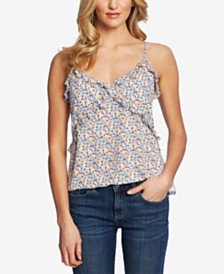 CeCe Moroccan Ditsy Ruffled Top
