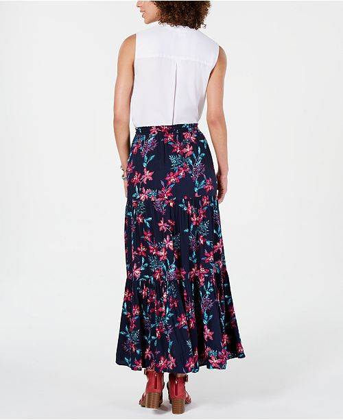 427547836 Style & Co Cotton Floral-Print Tiered Skirt, Created for Macy's ...