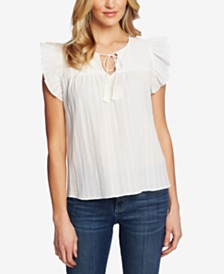 CeCe Metallic-Stripe Tie-Neck Top